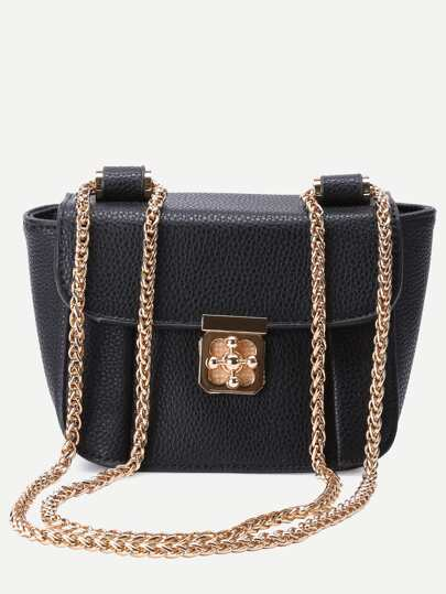 Black Pebbled PU Flap Chain Bag