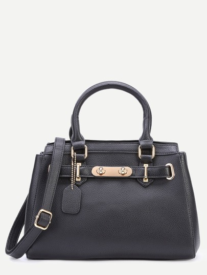 Black Pebbled PU Handbag With Strap