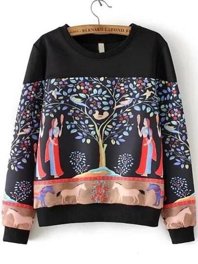 Black Tree Painting Print Drop Shoulder Sweatshirt