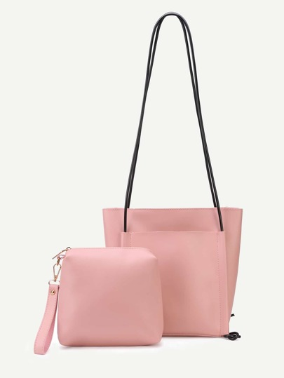 Pink PU Front Pocket Shoulder Bag With Handbag