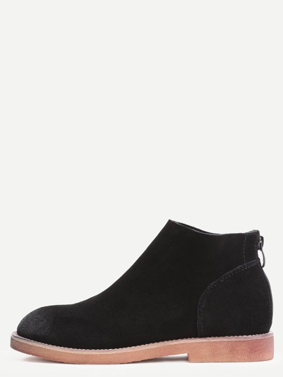 Black Genuine Leather Back Zipper Distressed Ankle Boots