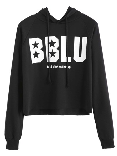 Black Letters Print Crop Hooded Sweatshirt