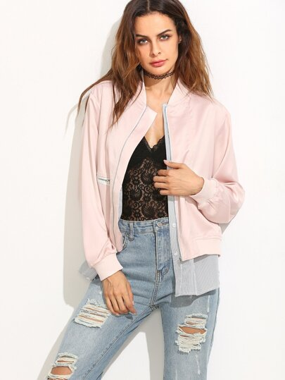 Pink Striped Trim 2 In 1 Bomber Jacket