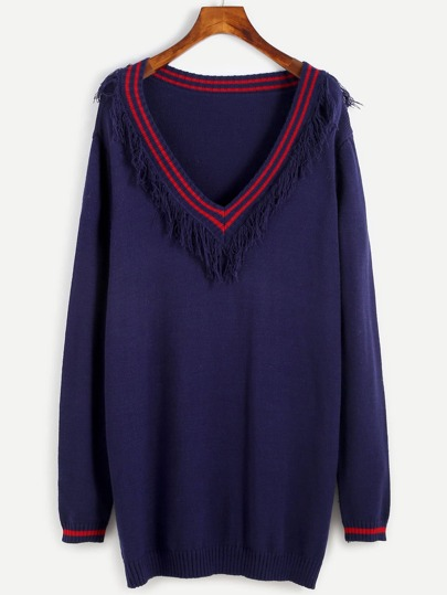 Navy Striped Trim Fringe Pullover Sweater