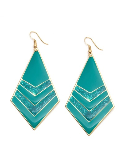 Turquoise Geometric Shiny Drop Earrings
