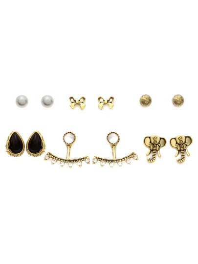 Gold Multi Shape Stud Earrings Set