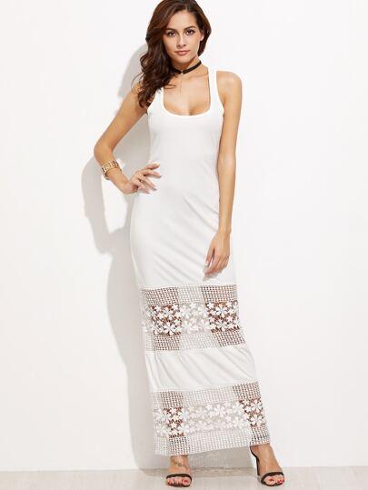 White Lace Crochet Insert Tank Dress