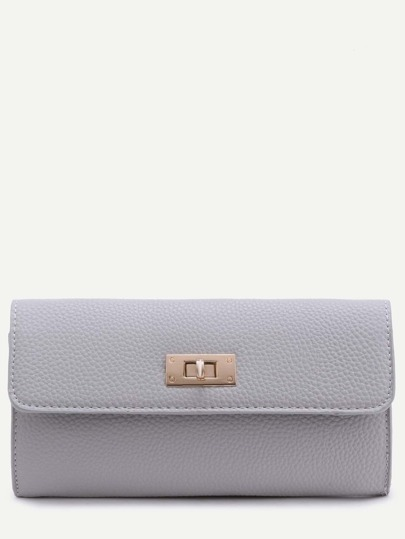 Grey Pebbled PU Flap Wallet