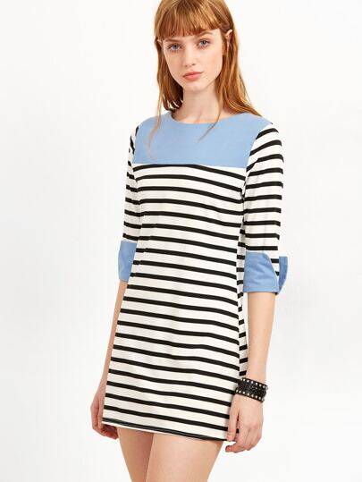Contrast Striped Roll Cuff Tee Dress