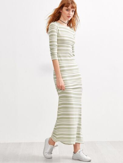 Contrast Striped Maxi Dress