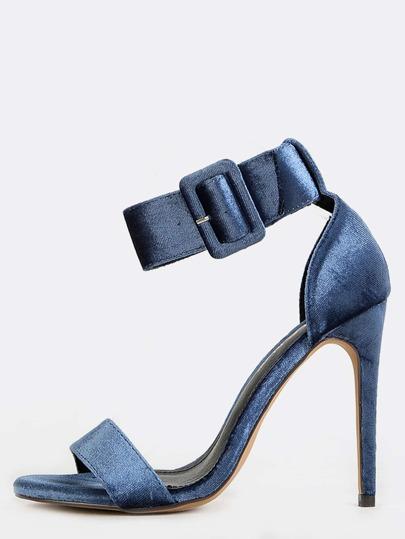 Velvet Stiletto Chunky Buckle Heels DUSTY BLUE