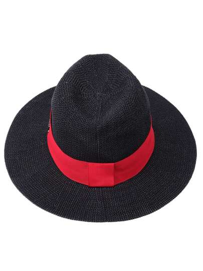 Black Straw Fedora Hat With Red Band