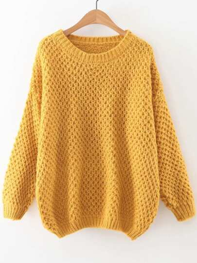 Yellow Round Neck Drop Shoulder Sweater