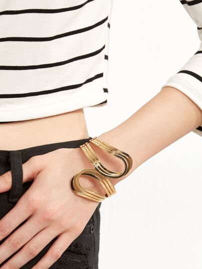 Gold Plated Minimalist Hollow Out Bangle