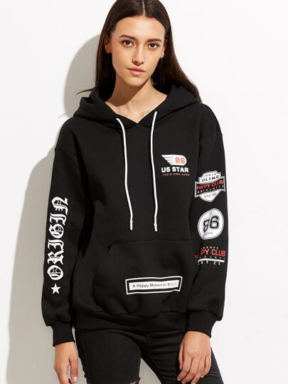 Black Drop Shoulder Printed Hoodie With Pocket