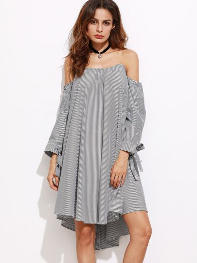 Black And White Striped Tie Sleeve Off The Shoulder Dress
