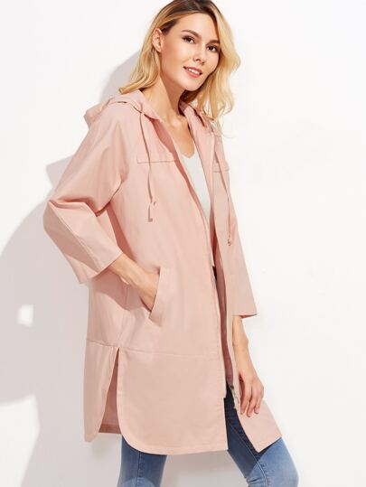 Pink Raglan Sleeve Slit Side Curved Hem Hooded Coat