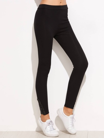 Black Contrast Hem Skinny Leggings