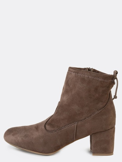 Tie Back Suede Ankle Booties TAUPE