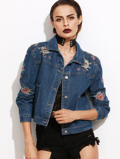 Dark Blue Flower Embroidered Crop Denim Jacket