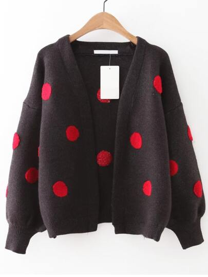 Coffee Polka Dot Lantern Sleeve Sweater Coat