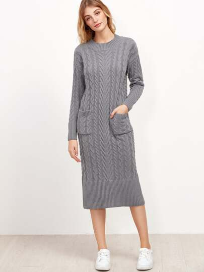 Grey Cable Knit Dual Pocket Front Slit Back Sweater Dress