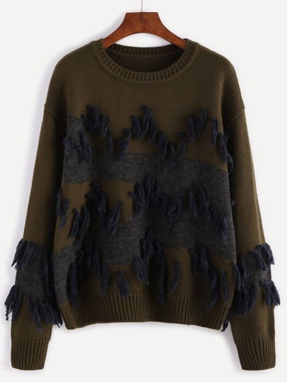 Olive Green Contrast Panel Tassel Trim Sweater