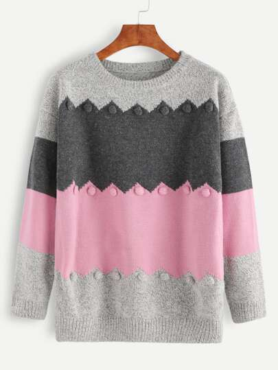 Color Block Marled Knit Pom Pom Embellished Sweater