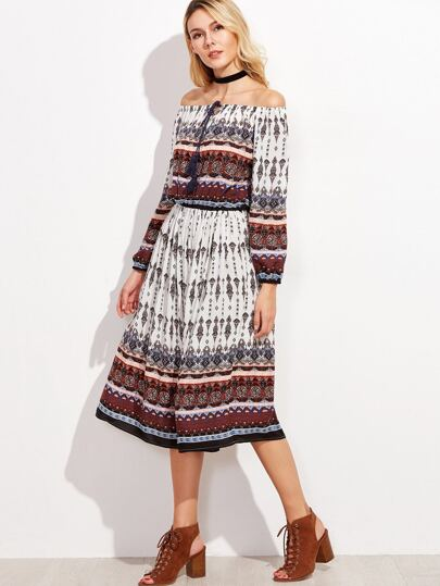 Tribal Print Off The Shoulder Tassel Tie Dress