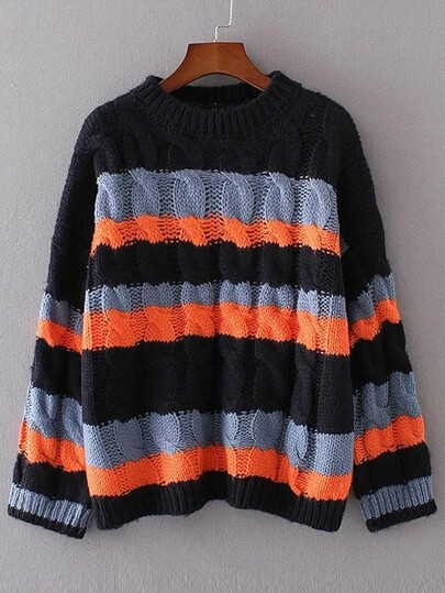 Navy Color Block Cable Knit Sweater