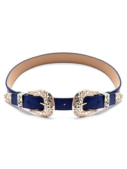 Blue Double Buckle Belt