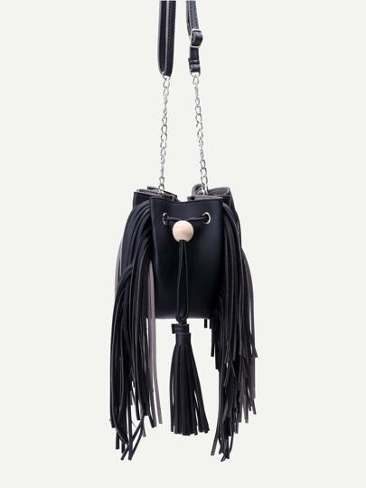 Black PU Tassel Trim Drawstring Bucket Bag With Chain