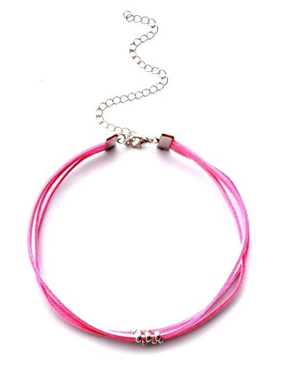 Collier ras-de-cou avec perle - rose