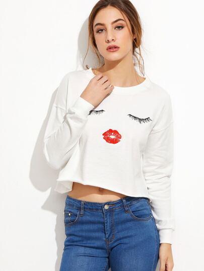 White Slogan Print Raw Hem Crop Sweatshirt