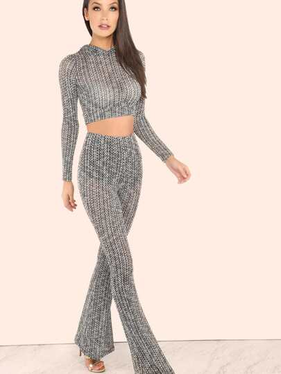Lightweight Knit Hooded Crop Top & Bell Bottom Knit Pants BLACK