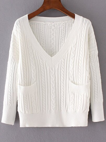 White Cable Knit V Neck Pocket Sweater