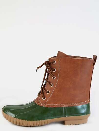 Lace Up Rubber Duck Boots OLIVE