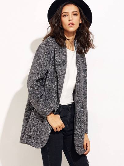 Black And White Tweed Oversized Boyfriend Blazer
