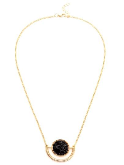 Gold Faux Stone Inset Cutout Pendant Necklace