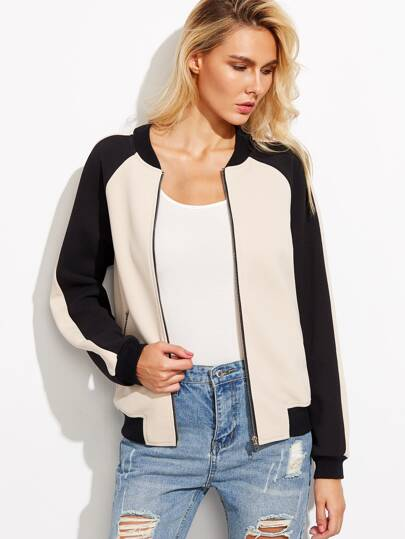 Color Block Raglan Sleeve Bomber Jacket