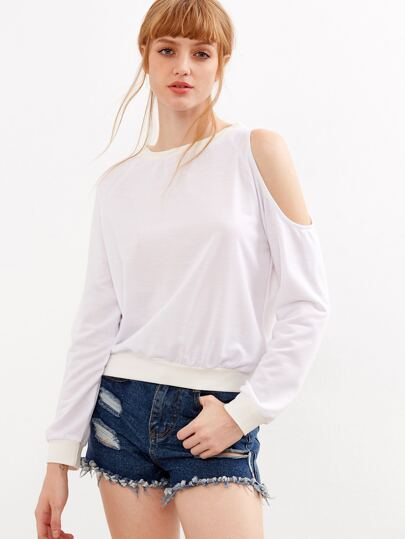 Sweat-shirt épaules ouvertes - blanc