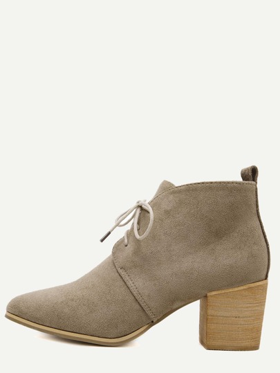 Apricot Faux Suede Lace Up Cork Heel Ankle Boots