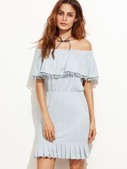 Off The Shoulder Pom Pom Trim Ruffle Dress