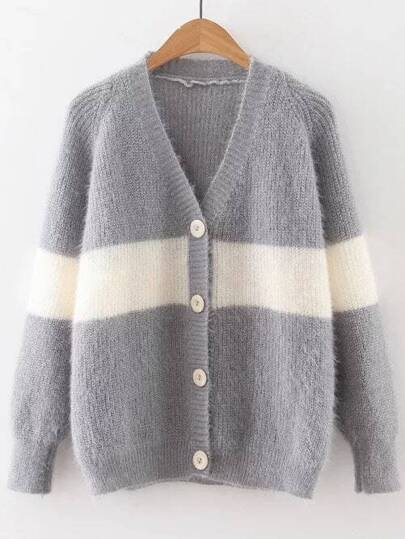 Grey Color Block Raglan Sleeve Button Up Sweater Coat