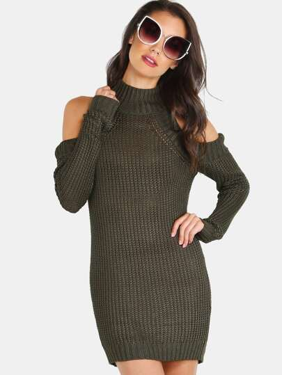 Cold Shoulder Turtleneck Knit Tunic Dress OLIVE