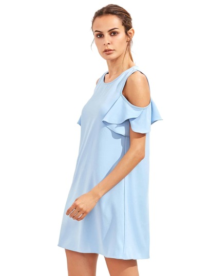 Blue Cold Shoulder Ruffle Sleeves Shift Dress