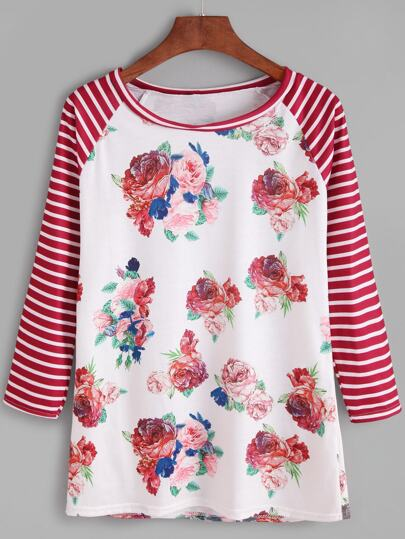 Contrast Raglan Sleeve Flower Print Striped T-shirt