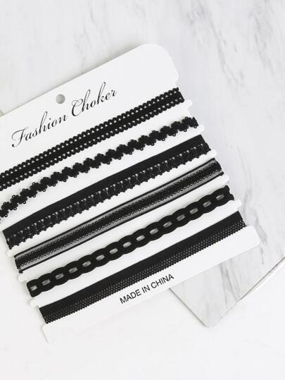 Lace Chain Choker Set BLACK