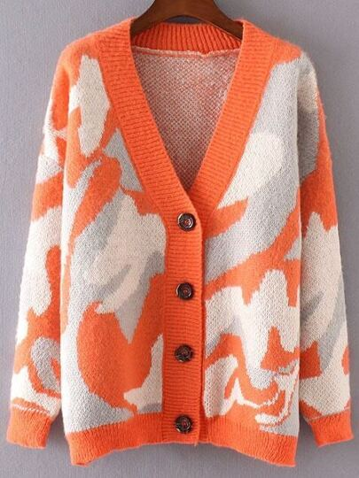 Orange Camouflage Pattern Drop Shoulder Button Up Sweater Coat