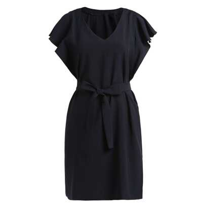 Black V Neck Ruffle Sleeve Self-Tie Dress